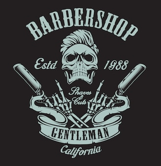 Винтажная иллюстрация на тему парикмахерской с черепом и опасной бритвой на темном фоне. все элементы и текст находятся в отдельной группе.