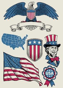 미국의 개체의 빈티지 일러스트 세트