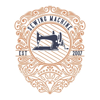 Vintage illustration sewing machine with ornaments