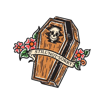 Vintage illustration of skull in broken coffin with ribbon and flowers