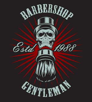 Vintage illustration of a skull shaving brushes on a dark background. all elements and text are in a separate group.