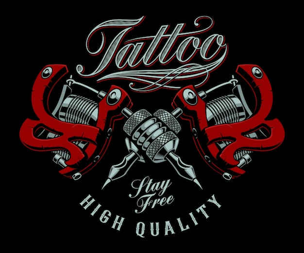 Vintage  illustration of tattoo machines on a dark background. all items are in separate groups. ideally on t-shirt printing