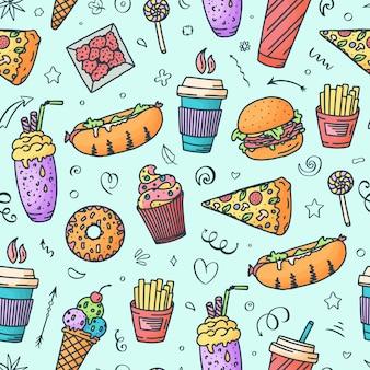 Vintage illustration with fast food doodle elements and lettering