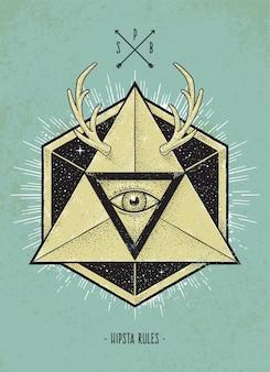 Vintage illustration with geometric shapes