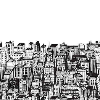 Vintage illustration with hand drawn big city new york nyc architecture, skyscrapers, megapolis, buildings, downtown.
