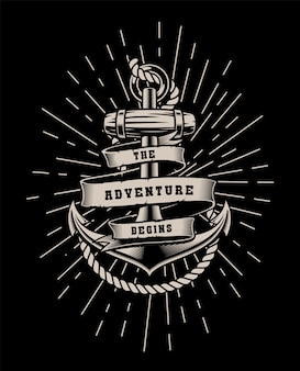 Vintage illustration with rope and lettering on a dark background.