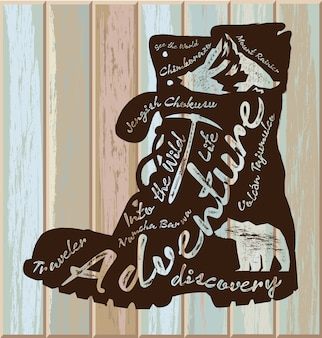 Vintage illustration with travel quote on boot silhouette