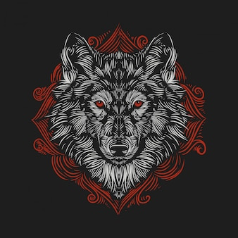 Vintage illustration wolf's head against the of a red ornament engraving style