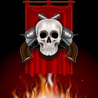 Винтажное изображение с черепом и двумя пушками на красном значке. стиль игры