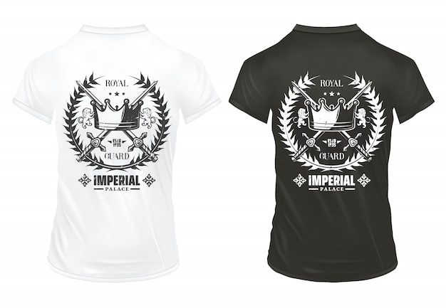 Vintage imperial prints concept with inscription royal crown crossed swords laurel wreath on shirts isolated