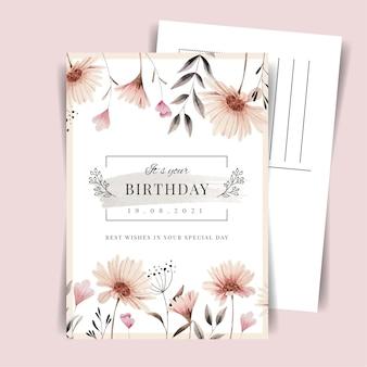 Vintage indah birthday postcard template