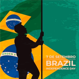 Vintage independence day of brazil background with man