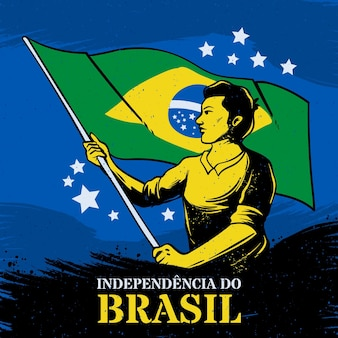 Vintage independence day of brazil concept