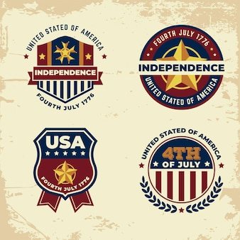 Vintage independence day label set concept