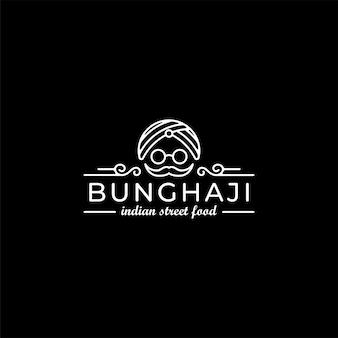 Винтажный индийский ресторан еда уличный дизайн логотипа