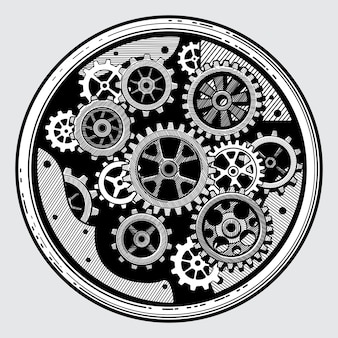 Vintage industrial machinery with gears. cogwheel transmission in hand drawn old style vector illustration