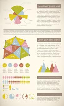 Винтажная инфографика с бизнес-диаграммами и графиками Бесплатные векторы