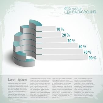 ビジネスグラフで設定されたヴィンテージのインフォグラフィック