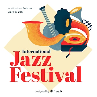 Vintage international jazz day background