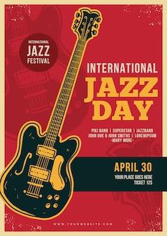 Modello di poster vintage jazz internazionale giorno