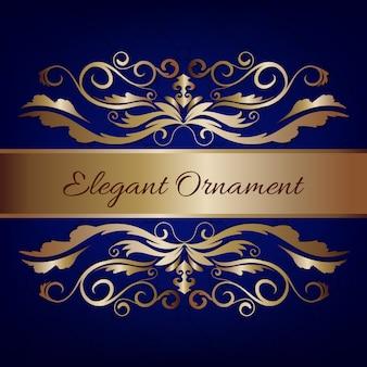 Vintage invitation card. blue luxury background with golden frame. template for design