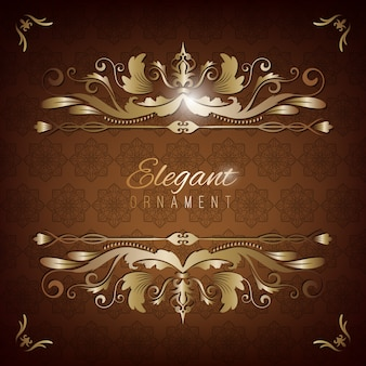 Vintage invitation card. brown luxury background with golden frame. template for design