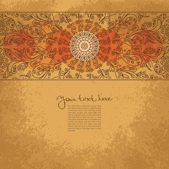 花飾りとグランジ背景のヴィンテージ招待状