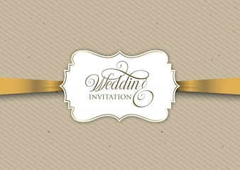 Vintage invitation design with gold ribbon