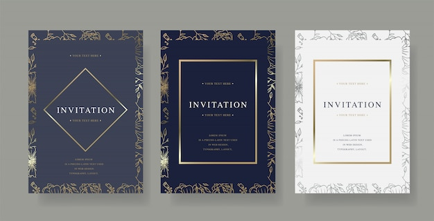 Vintage invitation vector card template
