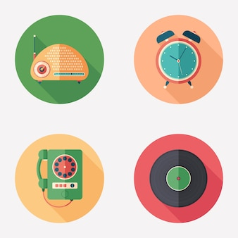Vintage items flat round icon set.