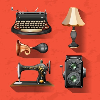 Vintage items on red background