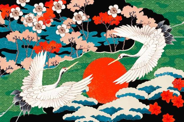 Винтажная иллюстрация образца японского искусства