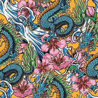 角のあるファンタジードラゴン海の波と桜の花とヴィンテージの日本のカラフルなシームレスパターン