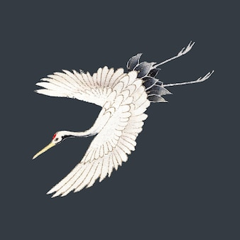 Vintage japanese crane illustration, remixed from public domain artworks