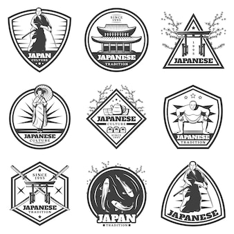 Vintage japanese culture labels set with samurai woman sumo player and traditional national elements isolated