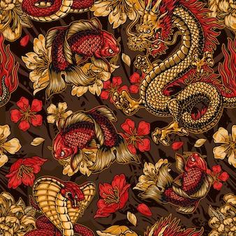 Vintage japanese elements seamless pattern with fantasy dragon snake koi carp sakura and chrysanthemum flowers