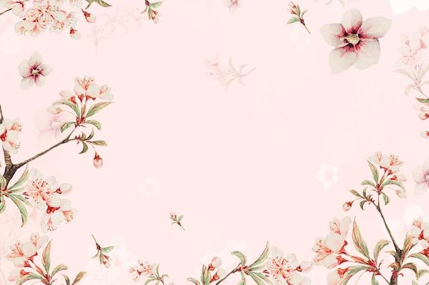 ヴィンテージの日本の花の背景の桃の花とハイビスカスのアートプリント、megatamorikagaのアートワークからのリミックス