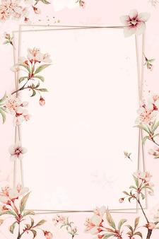 Vintage japanese floral frame cherry blossom and hibiscus art print, remix from artworks by megata morikaga