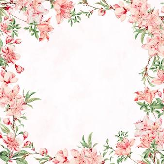 Vintage japanese floral frame vector peach blossom art print, remix from artworks by megata morikaga