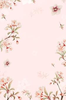 Cornice floreale vintage giapponese vettoriale fiori di pesco e stampa artistica di ibisco, remix di opere d'arte di megata morikaga