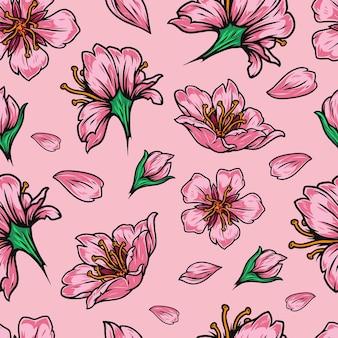 桜の花と花びらとヴィンテージの日本の花のシームレスなパターン