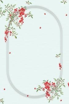 Vintage japanese frame coral berry art print, remix from artworks by megata morikaga