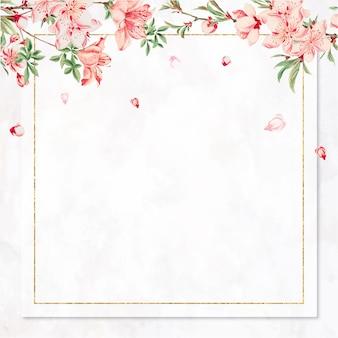 Vintage japanese frame vector peach blossom art print, remix from artworks by megata morikaga