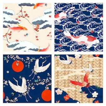 Set di motivi giapponesi vintage, remix di opere d'arte di watanabe seitei e katsushika hokusai