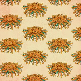Vintage japanese pattern with flowers