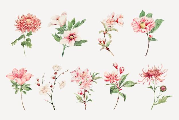 ヴィンテージ日本のピンクの花のアートプリントセット、megatamorikagaのアートワークからリミックス