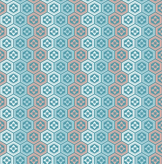 ヴィンテージ日本の多角形の花のパターン