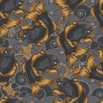伝統的な東洋の波に鯉とヴィンテージの日本の海のシームレスなパターン
