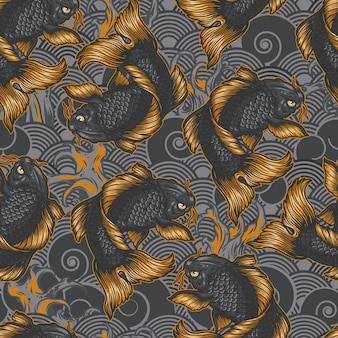 Vintage japanese sea seamless pattern with koi carps on traditional oriental waves