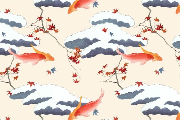 Vintage japanese seamless pattern vector, remix of artwork by watanabe seitei